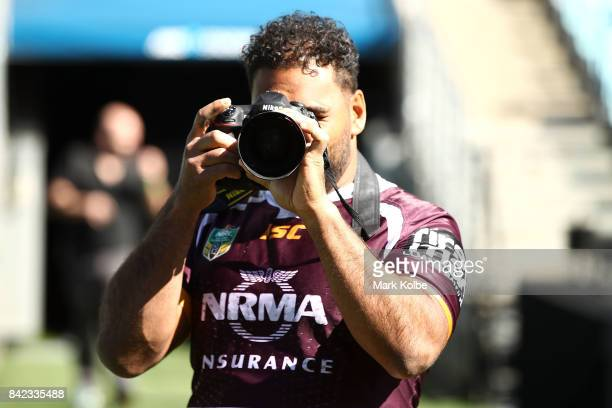 Sam Thaiday of the Broncos takes a photo during the 2017 NRL Finals Series Launch at ANZ Stadium on September 4 2017 in Sydney Australia