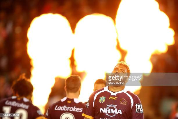Sam Thaiday of the Broncos walks out to the field during the NRL Qualifying Final match between the Sydney Roosters and the Brisbane Broncos at...