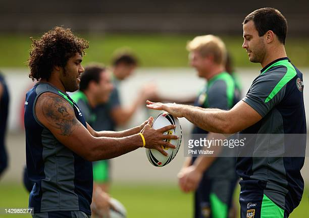 Sam Thaiday of the Kangaroos and David Shillington warm up during the Australian Kangaroos training session at Western Springs Stadium on April 17...
