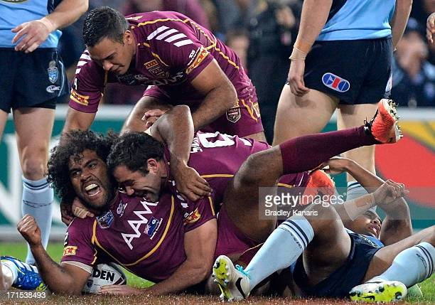 Sam Thaiday of the Maroons celebrates after scoring a try during game two of the ARL State of Origin series between the Queensland Maroons and the...