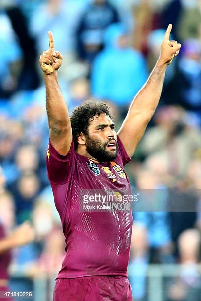 Sam Thaiday of the Maroons celebrates winning game one of the State of Origin series between the New South Wales Blues and the Queensland Maroons at...
