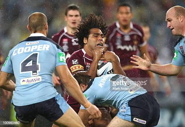 Sam Thaiday of the Maroons is tackled during game one of the ARL State of Origin series between the New South Wales Blues and the Queensland Maroons...