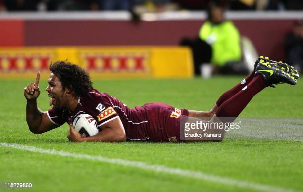 Sam Thaiday of the Maroons scores a try during game three of the ARL State of Origin series between the Queensland Maroons and the New South Wales...