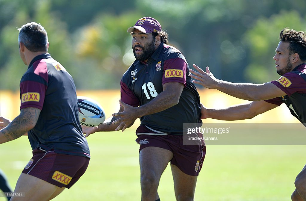 Sam Thaiday passes the ball during the Queensland Maroons State of Origin training session at Sanctuary Cove on May 24, 2015 in Brisbane, Australia.