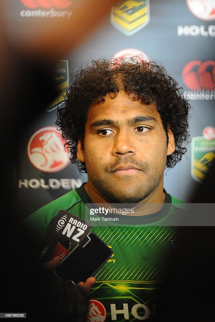Sam Thaiday speaks to the media during an Australian Kangaroos media session at InterContinental Hotel Wellington on November 11, 2014 in Wellington, New Zealand.