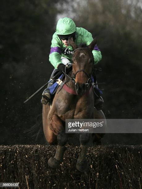 Sam Thomas and Mon Mome clear the 14TH fence before landing The Weatherbys Bank Novices Steeple Chase Race run at Fontwell Racecourse on January 17...