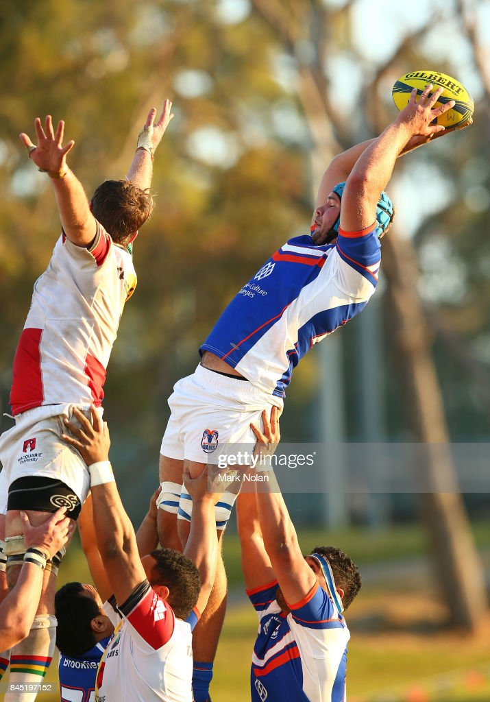Sam Thomas of the Rams wins a line out during the round two NRC match between the Rays and the Rams at Macquarie Uni on September 10, 2017 in Sydney, Australia.