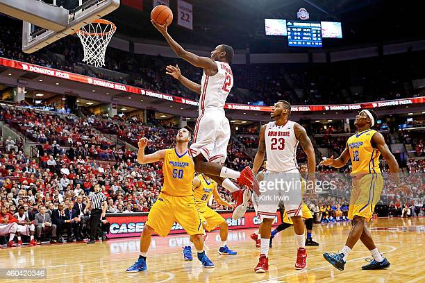 Sam Thompson of the Ohio State Buckeyes makes a basket during the second half of the game against the Morehead State Eagles at Value City Arena on...