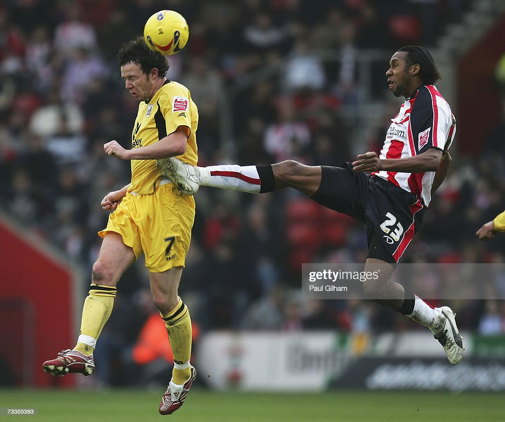 Sam Togwell of Barnsley battles for the ball with Jhon Viafar of Southampton during the Coca-Cola Championship match between Southampton and Barnsley at St Mary's Stadium on February 17, 2007 in Southampton, England.