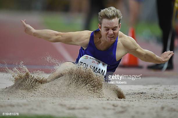 Sam Toleman competes in the Mens Long Jump during the Queensland Track Classic on March 19 2016 in Brisbane Australia
