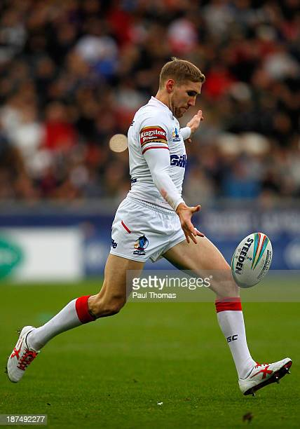 Sam Tomkins of England kicks during the Rugby League World Cup Group A match at the KC Stadium on November 9 2013 in Hull England
