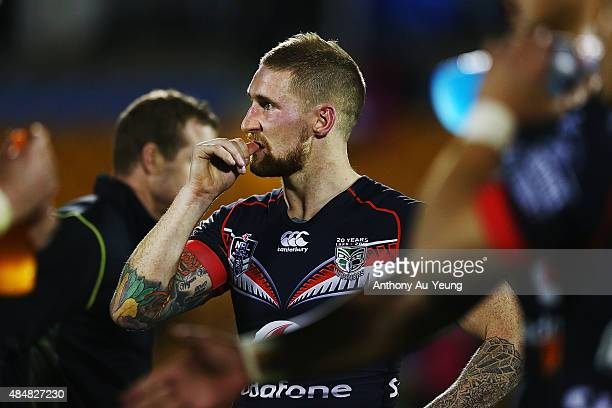 Sam Tomkins of the Warriors reacts after losing the round 24 NRL match between the New Zealand Warriors and the North Queensland Cowboys at Mt Smart...