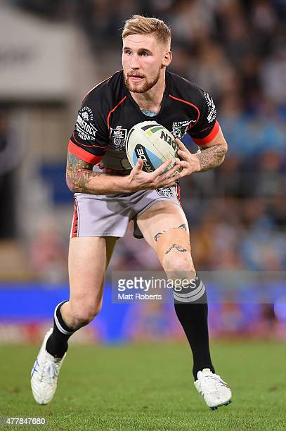 Sam Tomkins of the Warriors runs with the ball during the round 15 NRL match between the Gold Coast Titans and the New Zealand Warriors at Cbus Super...