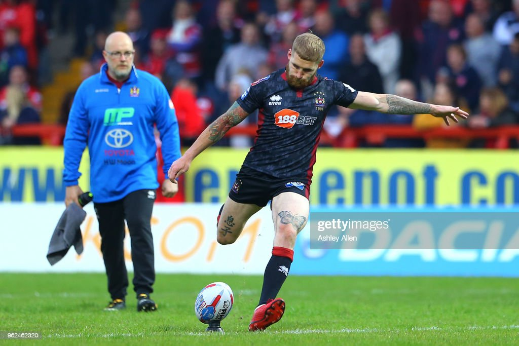 Sam Tomkins of Wigan Warriors kicks a conversion during the Betfred Super League at KCOM Craven Park on May 25, 2018 in Hull, England.