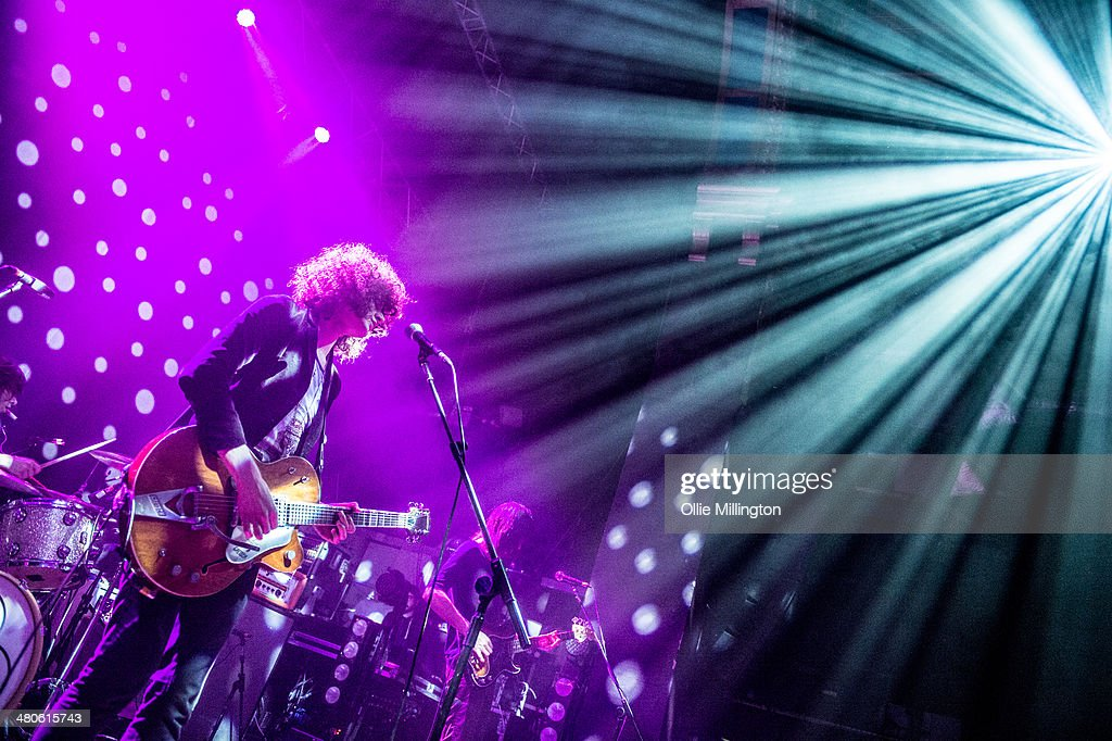 Sam Toms, James Edward Bagshaw and Thomas Edison Warmsley of Temples perform onstage at the NME Awards Tour Show at The Institute on March 25, 2014 in Birmingham, England.