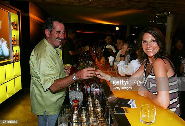 Sam Torrance of Scotland having a lot of fun pouring Johnnie Walker Black Label for his wife Suzanne and the invited guests at the Johnnie Walker...
