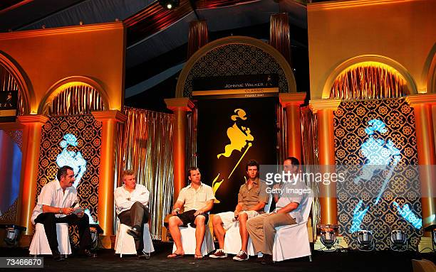Sam Torrance of Scotland holds a question and answer session with the international stars Colin Montgomerie of Scotland Paul Casey of England Adam...