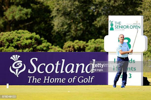 Sam Torrance of Scotland in action during the first round of the Senior Open Championship played at Carnoustie Golf Club on July 21 2016 in...