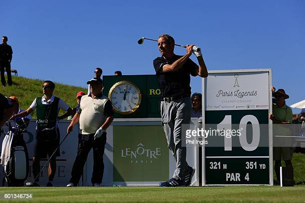 Sam Torrance of Scotland in action during the first round of the Paris Legends Championship played on L'Albatros course at Le Golf National on...