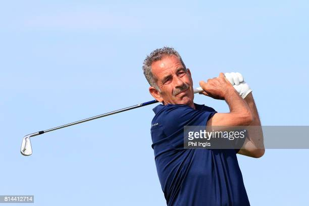 Sam Torrance of Scotland in action during the first round of the WinstonGolf Senior Open played on the Links Course WinstonGolf on July 14 2017 in...