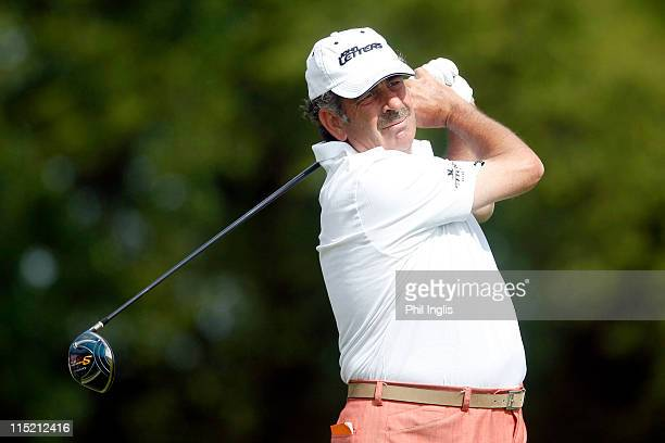Sam Torrance of Scotland in action during the second round of the Handa Senior Masters presented by the Stapleford Forum played at Stapleford Park on...