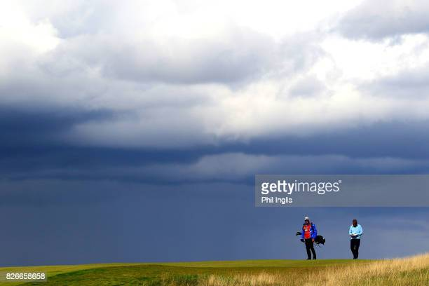 Sam Torrance of Scotland in action during the second round of the Scottish Senior Open at The Renaissance Club on August 5 2017 in North Berwick...
