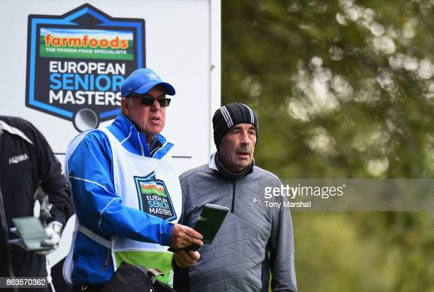 Sam Torrance of Scotland prepare to play his first shot on the 2nd tee during Day One of the Farmfoods European Senior Masters at Forest Of Arden...