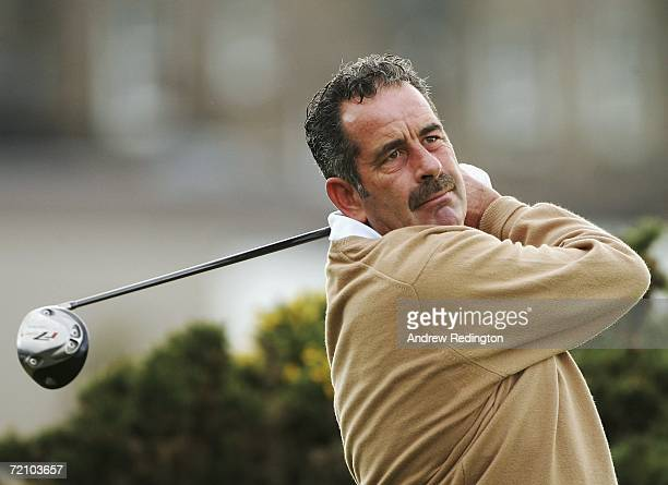 Sam Torrance of Scotland tees off at the 2nd Hole during the Second Round of The Alfred Dunhill Links Championship at The Old Course on October 6...