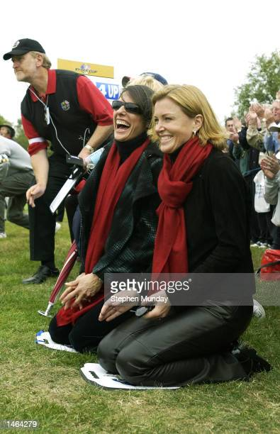 Sam Torrance's wife Suzanne and Colin Montgomerie's wife Eimear share a joke during the morning fourballs on the first day of the 34th Ryder Cup...