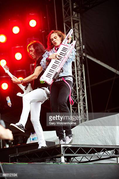 Sam Totman and Vadim Pruzhanov of Dragonforce performs on stage on day 2 of Download Festival at Donington Park on June 13 2009 in Donington England