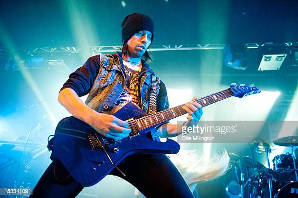 Sam Totman of Dragonforce performs on stage during their The Power Within world tour at Rock City on October 3 2012 in Nottingham United Kingdom