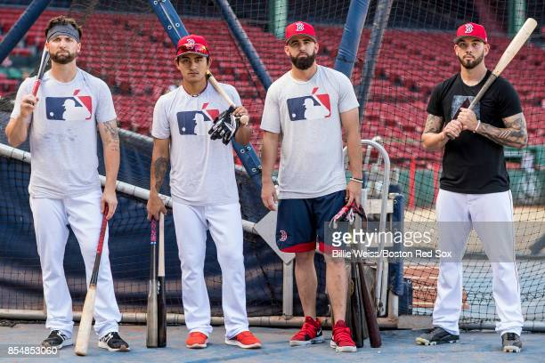 Sam Travis TzuWei Lin Deven Marrero and Blake Swihart the Boston Red Sox pose before a game against the Toronto Blue Jays on September 27 2017 at...