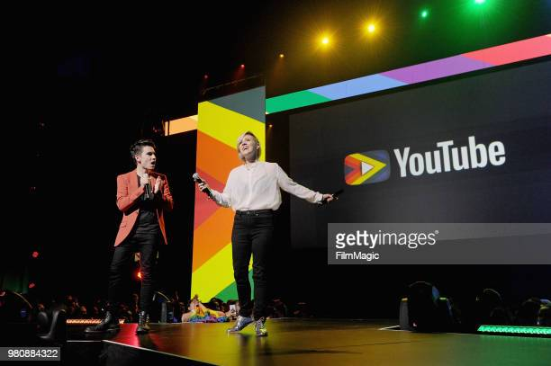 Sam Tsui and Hannah Hart appear at YouTube OnStage during VidCon at the Anaheim Convention Center Arena on June 21 2018 in Anaheim California