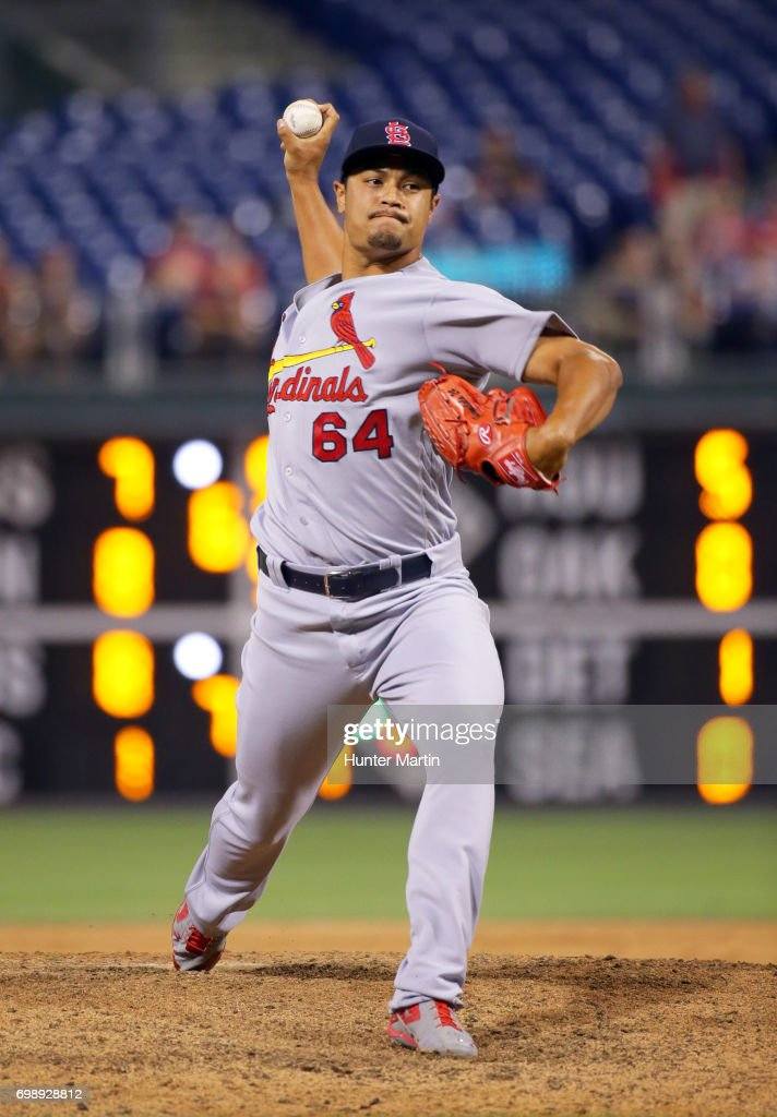 Sam Tuivailala #64 of the St. Louis Cardinals throws a pitch in the 11th inning during a game against the Philadelphia Phillies at Citizens Bank Park on June 20, 2017 in Philadelphia, Pennsylvania. The Cardinals won 8-1 in 11 innings.