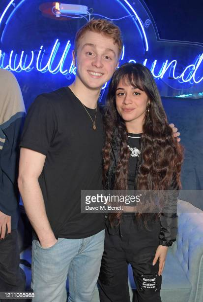Sam Tutty and Camila Cabello pose backstage at the press night performance of Dear Evan Hansen at Noel Coward Theatre on March 08 2020 in London...
