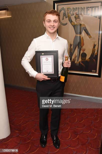 Sam Tutty winner of the Jack Tinker Award For Most Promising Newcomer for Dear Evan Hansen attends The Critics' Circle Theatre Awards 2020 at The...