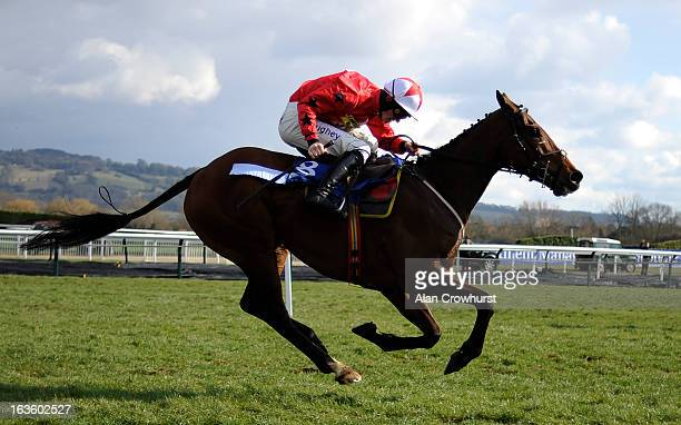 Sam Twiston Davies riding The New One win The Neptune Investment Management Novices' Hurdle Race during Ladies Day at Cheltenham racecourse on March...