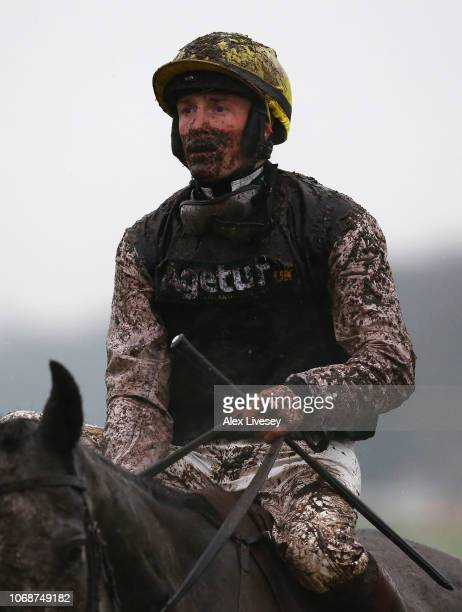 Sam TwistonDavies looks on after riding Browndodd in The Watch Racing Uk Anywhere Maiden Hurdle Race at Haydock Racecourse on December 5 2018 in...