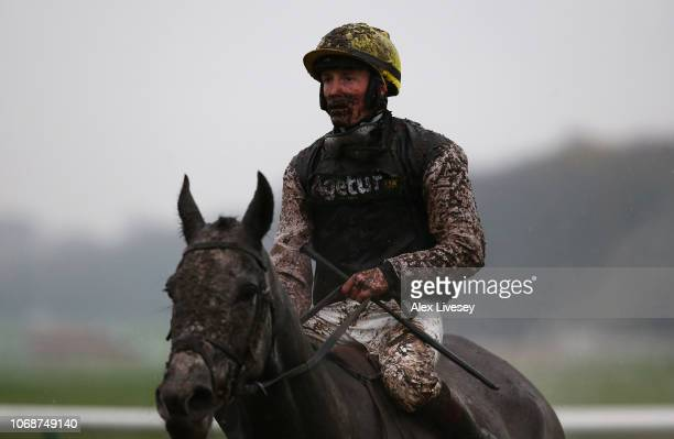 Sam TwistonDavies on board Browndodd looks on after The Watch Racing Uk Anywhere Maiden Hurdle Race at Haydock Racecourse on December 5 2018 in...