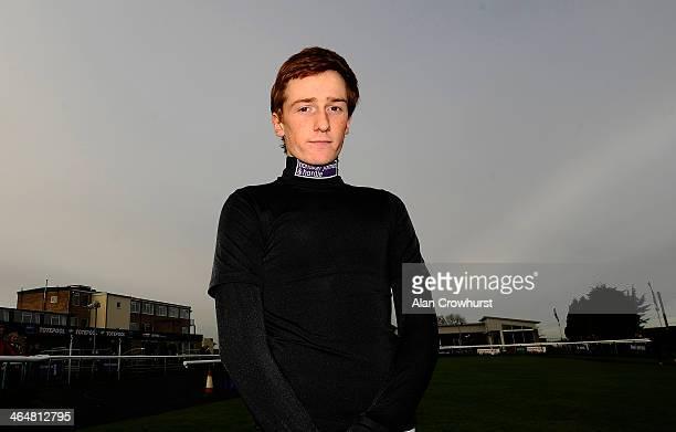 Sam TwistonDavies poses at Huntingdon racecourse on January 24 2014 in Huntingdon England