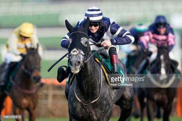 Sam TwistonDavies riding Al Dancer clear the last to win The Catesby Handicap Hurdle at Cheltenham Racecourse on December 14 2018 in Cheltenham...
