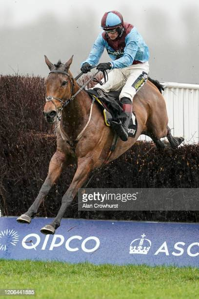 Sam TwistonDavies riding Ballyoptic clear the last to win The Keltbray Swinley Chase at Ascot Racecourse on February 15 2020 in Ascot England