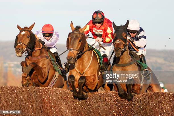 Sam TwistonDavies riding Cogry clear the last to win The CF Roberts 25 Years Of Sponsorship Handicap Chase at Cheltenham Racecourse on December 14...