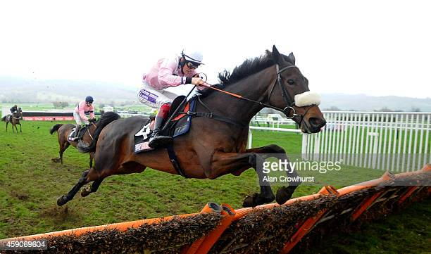 Sam TwistonDavies riding Emerging Talent in action at Cheltenham racecourse on November 16 2014 in Cheltenham England