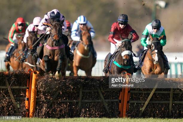 Sam TwistonDavies riding Hear The Chimes clear the last to win The MansionBet Handicap Hurdle at Huntingdon Racecourse on February 21 2019 in...