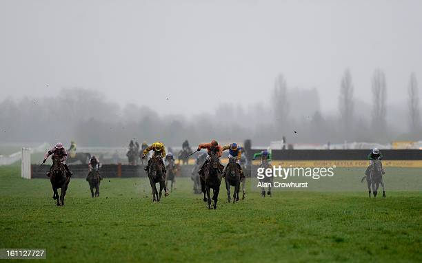 Sam TwistonDavies riding Master Of The Sea win The Betfair Don't Settle For Less Handicap Hurdle Race at Newbury racecourse on February 09 2013 in...