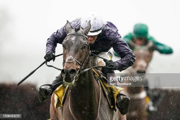 Sam TwistonDavies riding Riders On The Storm clear the last to win The Betfair Ascot Chase at Ascot Racecourse on February 15 2020 in Ascot England