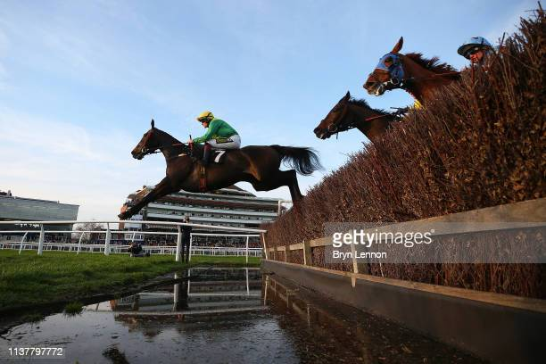 Sam TwistonDavies riding Rock on Rocky clears an open ditch in the Sharps Brewery Rock Handicap Steeple Chase at Newbury Racecourse on March 23 2019...