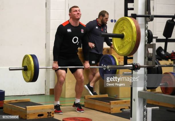 Sam Underhill lifts weights during the England conditioning session held at Nuffield Health Centre on February 28 2018 in Oxford England