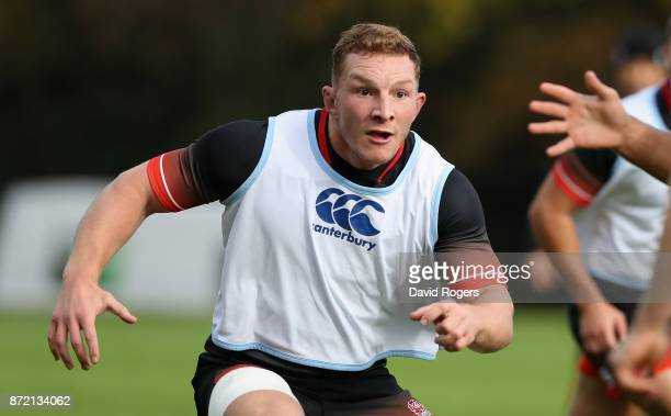 Sam Underhill looks on during the England training session held at Pennyhill Park on November 9 2017 in Bagshot England
